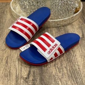 🆕 Adidas Adilette Comfort Slides Sandals Red Blue